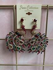 Earrings Crystal Peacock Colorful Dangle Large Pageant Bridal Style Beautiful!