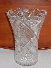 "VTG KRISTALL HANDGESCHLIFFEN GERMAN CUT LEAD CRYSTAL STARS 10"" FROSTED PEAR VASE"