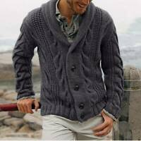 SWEATER MENS CABLE KNITTED KNITWEAR CARDIGAN OUTWEAR COAT JUMPER CHUNKY WARM
