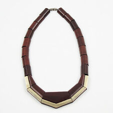 Rare French Art Deco Handmade Wooden Geometric Choker Necklace Silvered Accent