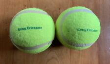 2 Optic Yellow Hard Sony Ericsson Tennis Balls Marked in Green Plain Otherwise