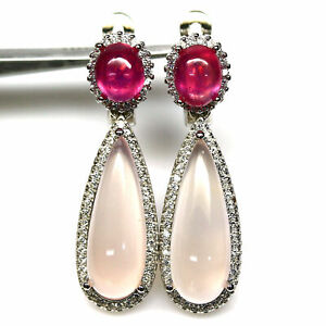NATURAL PINK CHALCEDONY, RUBY & CZ EARRINGS 925 STERLING SILVER