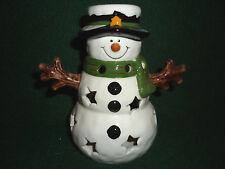 Yankee Candle Snowman Tea light Holder 4 Sprklg Cinnamon Tea Light Free Ship New
