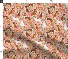 Peach Pink Floral Boxer Boxers Dog Dogs Fabric Printed by Spoonflower Bty