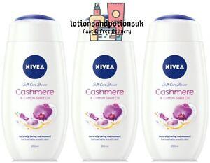 Nivea CASHMERE & COTTON SEED OIL Shower Cream Creme 250ML - 3 PACK
