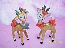 Vintage Lefton Christmas Holly Berry Santa Reindeer w/ Stickers Figurine Set