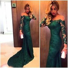 Emerald Green Elegant Evening Party Dress lace-long sleeve Prom Ball Gown Formal