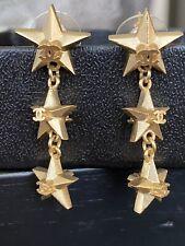 EUC Chanel CC Logo Triple Star Charm Gold Tone Drop Dangle Earrings