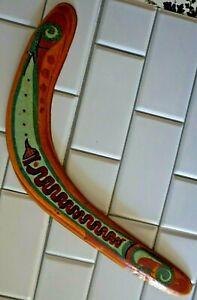 "Vintage Handmade Wooden Boomerang Original Primitive Hand Painted Snake 21"""
