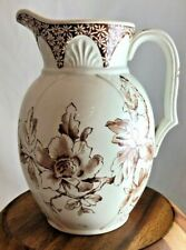 Brown and White Antique Ironstone Transferware Pitcher, England
