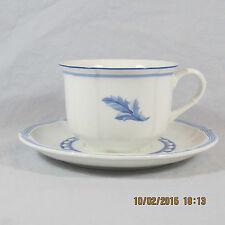 Villeroy Boch Casa Azul Breakfast Cup & Saucer blue white leaf scallop rim shape