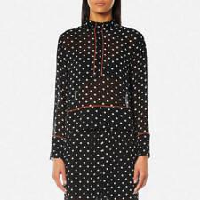 579d86a1 Ganni 220$ Women's Monette Georgette Shirt Black polka dots contrast top  size 36