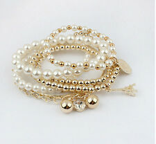 Hot Women Fashion Vintage Pearl Multi-Layer Beads Charm Bracelet Bangle