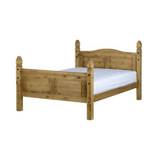 Corona Bed Frame - Double 4ft6 - Distressed Waxed Pine - High Foot End