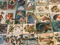 ~Beautiful Estate~Lot of 25~CHRISTMAS~BIRDS~ Vintage BIRD Postcards-s-969