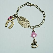 OoaK hand made bronze tone charm bracelet horse medallion horse shoe rocking hor