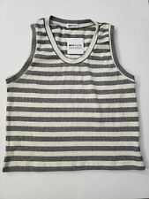 LAmade Black & Ivory Striped V Neck Sleeveless top Medium New