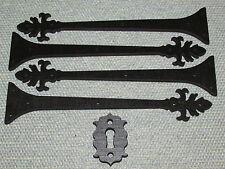 4 Decorative Scroll Medieval Style Wood Hinges Straps & 1 Key EscutcheonType 3