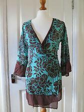 Beautiful Monsoon aqua green and brown floral print silk wrap tunic top sz 8