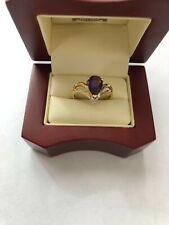 14kt Yellow Gold Handmade Amethyst & Diamond Ring Size 6.25 Brand New