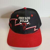 Vintage 90s Chicago Bulls Logo 7 Red Black Sharktooth Shark Tooth Snapback Hat