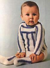 "Cb34 Knitting Pattern - Child's DK Striped Jumper, Pants & Socks - Sizes 18-22"""
