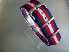 Uhrenarmband Nylon blau/rot/weiß/rot/blau 20 mm NATO BAND Dornschließe Textil
