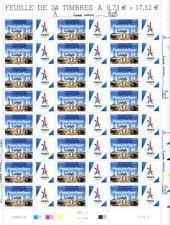 jo jeux olympiques Paris 2024 timbre surchargé Lima 2017 13/09 feuille complète