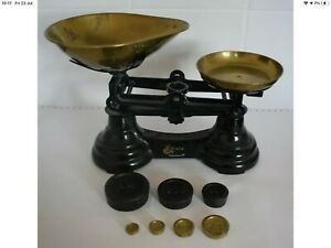 Vintage Librasco Cast Iron Weighing Scales & Brass Weights Kitchen Scales