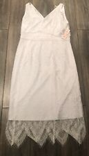 Brand New Nanette Lepore Optic White Endless Summer Lace Detailed Dress Size 12