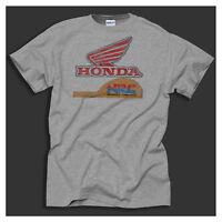 Honda Racing Retro Track Team Classic Distressed Print Sport Grey T-Shirt