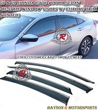 OE-Style Window Rain Guard Visors + Chrome Trim Fits 16-17 Honda Civic 4dr Sedan