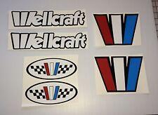 6  WELLCRAFT BOAT decals Emblem Marine Vinyl  6 declal set