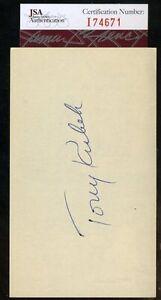 Tony Kubek Jsa Certed Signed 3x5 Index Card Authentic Autograph