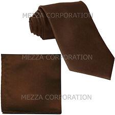 New formal men's necktie & hankie set solid color polyester wedding brown