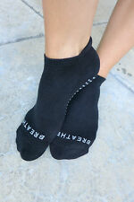 Barre Pilates Yoga  Non-slip Grip Socks BREATHE  Black  Womens  One Size Medium