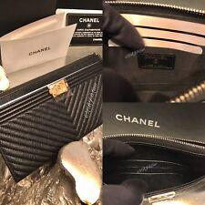 NWT CHANEL Black Caviar CHEVRON Long Zip Wallet Phone Holder O-Case 2018 Pouch