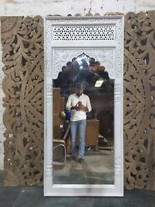 MADE TO ORDER Mehrab Indian Hand Carved Mirror Arched Globe Wooden Wall Decor