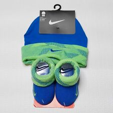 Nike Infant Hat Booties Socks Set 0-6 Months Boy Baby Shower Gift Blue Green