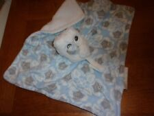 """lovey security blanket blankets beyond baby blue gray white 15"""" owl"""