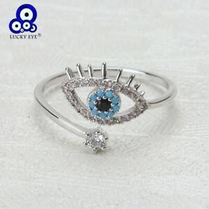 Lucky Eye Evil Eye Open Rings Copper Micro Pave Cubic Zircon Ring Jewelry