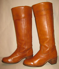 Vtg~FRYE~Leather~BOOTS~Tall~CAMPUS~CUFFED~Pull On~Tan~Women~Sz 8-8.5~#6639