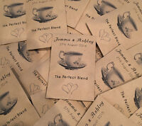 10 Personalised Wedding Favour with Tea bag Perfect Blend table drink tea guest