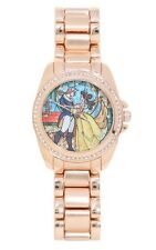 Disney Beauty & The Beast Bling Stained Glass Rose Gold Tone Watch NICT!