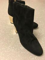 Women's Kurt Geiger Black Faux Suede & Leather Heels Ankle Boots UK 5 EU 38 US 7