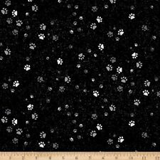 Paw Prints Onyx Full Moon Black Silver Metallic Cotton Quilting Fabric 1/2 YARD