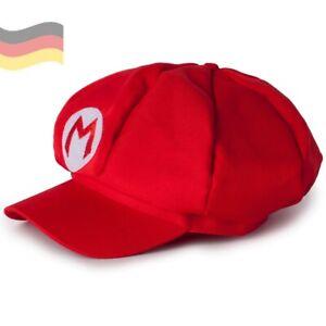 Rote Super Mario Mütze Erwachsene Kinder Karneval-Kostüm Junggesellenabschied