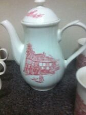 cottage scene coffee pot and mugs