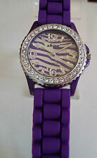 Shine Zebra Print Purple Crystal Encrusted Silicone Band Fashion Watch