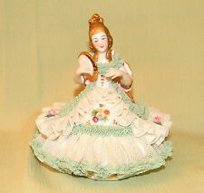 ANTIQUE DRESDEN Figurine Lady in Green Dress with Fan, GERMAN PORCELAIN